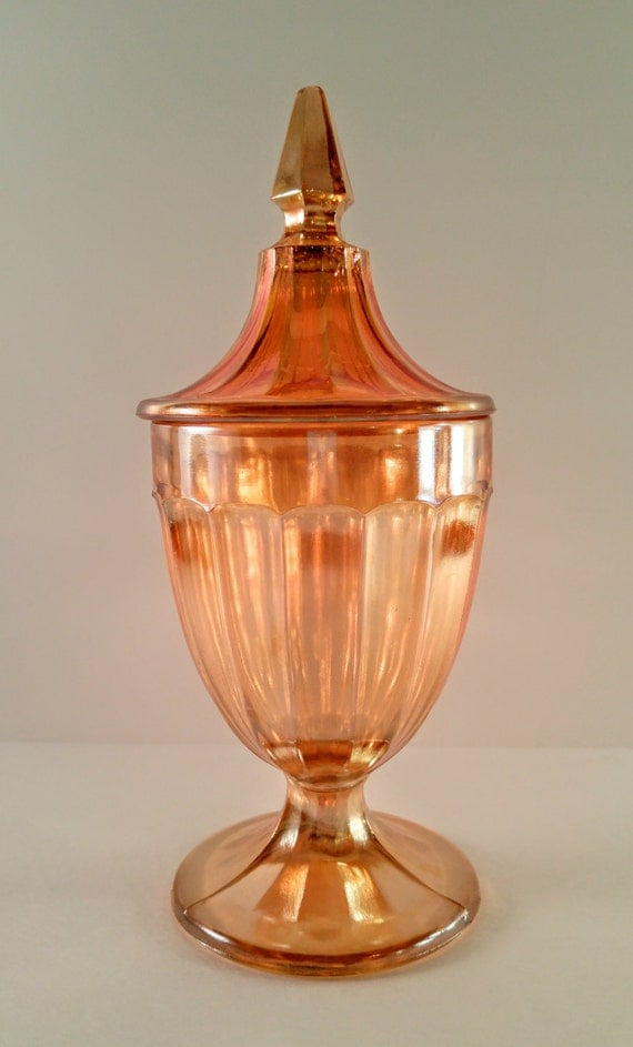 Vintage Carnival Glass Candy Apothecary Jar Iridescent Peach