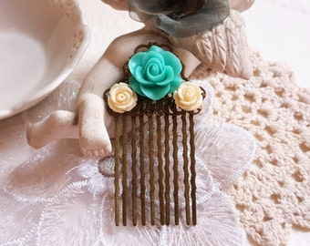 Turquoise Rose Antique inspired brass hair comb Flower girl Bridal Bridesmaid accessory