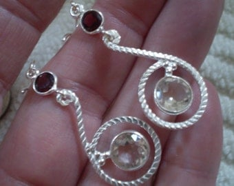 Garnet (Natural) Crystal (Natural) 925 Sterling Silver French Wire Earrings 2""