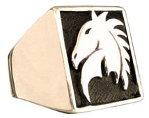 Chess Game Knight Ring Horse Symbol in Bronze - All Sizes
