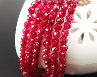 Full Strand 4mm 93pcs Red Agate Faceted Round Beads Agate Gemstone Beads