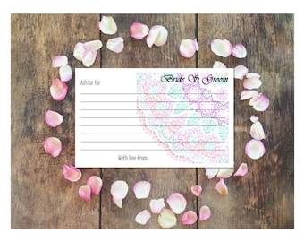 """Delicate Jewels Lace Wedding """"Advice"""" Cards Customizable - Printable Digital Download"""