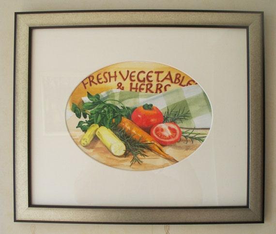 Fresh Vegetables & Herbs, original watercolour painting