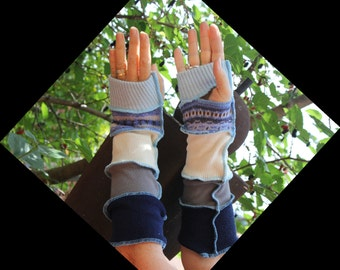 Gloves , Finger-less gloves , Long arm warmers , Up-cycled sweaters , Hippie gloves , Winter gloves , Boho finger-less gloves.