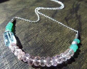 Morganite Aquamarine Chrysopras chain necklace silver sterling 925 necklace gemstone jewelry, gemstone jewelry