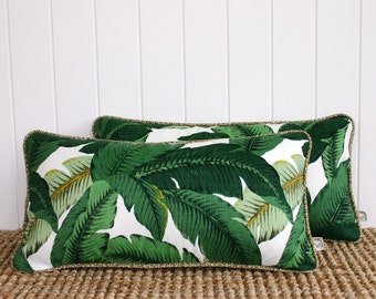 "Green Palms Outdoor Lumbar Cushion Pillow Cover with OPTIONAL piping | 60 x 30cm | 24"" x 12"""