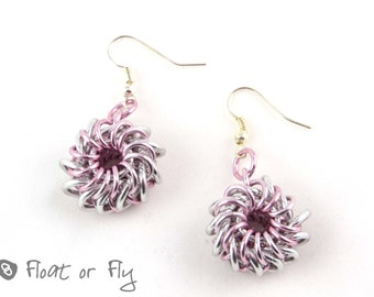 Whirlybird Chain Maille Earrings - Pink