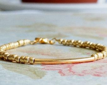 Gold Tube Bracelet, Seed Bead Bracelet, Stacking Bracelet, Simple Gold Bracelet, Minimalist Bracelet, Beaded Bracelet, Dainty Bracelet