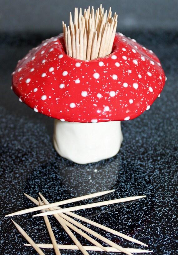 Toothpick holder handmade ceramic toadstool by fabulousfungi - Toothpick holder for purse ...