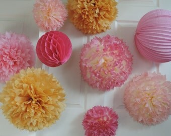 Pink & Gold Poms,  Pink and Gold Birthday, Pink and Gold Party Decorations, Pink Tissue Paper Poms, Pink Gold Pompoms, Pink Confetti Balloon