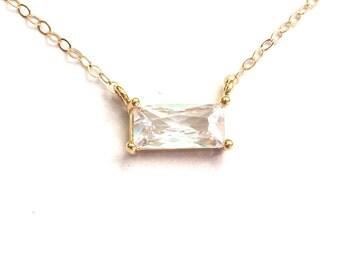 CZ Pendant, CZ Pendant Necklace, cz Necklace, Bridesmaids Gift, cz Layering Necklace, CZ Bar Necklace, Cz Rectangle Necklace