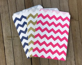 48 Gold, Hot Pink and Navy Favor Bags--Chevron Favor Bag--Candy Favor Bag--Chevron Goodie Bags-Nautical Theme--Birthday Treat Sacks