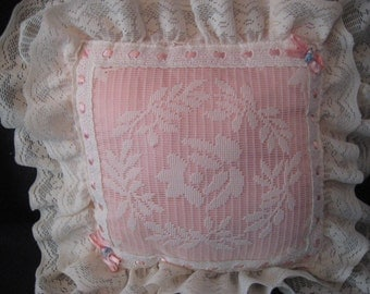 Pink and ivory lace pillow, cream off white  bedroom boudoir pillow, decorative pillow, romantic, shabby cottage chic decor