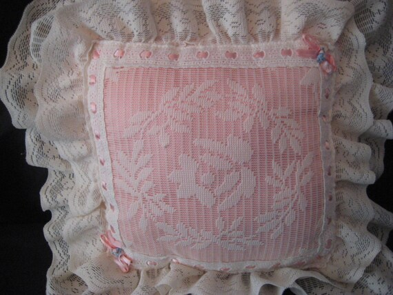 Ivory Lace Throw Pillow : Pink and ivory lace pillow cream off white bedroom boudoir