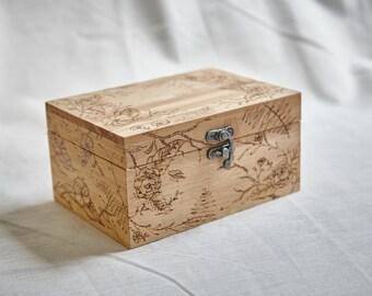 Rectangle wood burned box