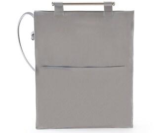 Grey Patent Leather Bag, Shoulder Bag, Crossbody Leather Bag, Laptop Bag, Long Straps Bag, Every Day Leather Bag