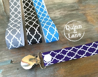 Universal Pacifier Clips YOU CHOOSE - Soothie MAM Nuk Gumdrop Soother Clips - Pacifier Holders - Quatrefoil