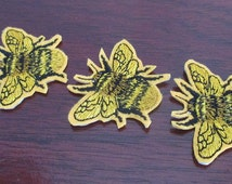 Honey bee iron on embroidered patch