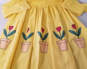 Tulip Applique  Apron  #34