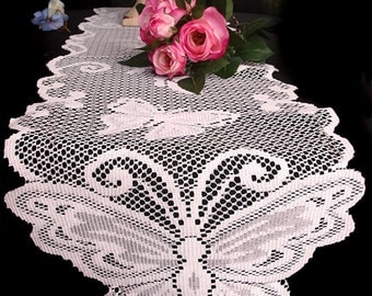 "White Butterfly Lace Ribbon - 13"" x 96"""