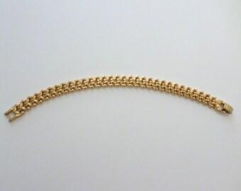 Gold Link Bracelet Vintage Heavy Link Gold Link Bracelet Scroll Link Vintage Gold Bracelet Jewelry