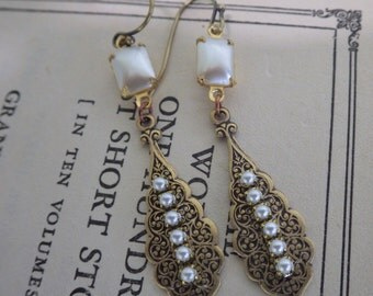 Victorian Pearl Earrings ~  Vintage Style ~  Downton Abbey Style ~ Vintage Glass ~ by LadyoftheLakeJewels