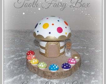Wooden Glitter Dotty Rainbow Tooth Fairy Box