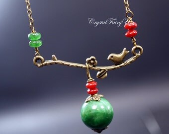 Retro Emerald Jade Necklace - Bronze Bird Necklace - May Birthstone, Coral Charms Yoga Necklace - Heart Chakra Healing Boho Necklace