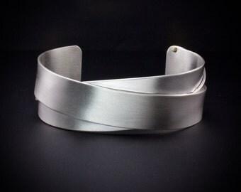 Woven Sterling Silver Cuff Bracelet, Mens Cuff, Woman's Cuff Bracelet, Riveted Cuff,  Matte Cuff,  Shiny Cuff - 18K Gold Rivets - Art Metal