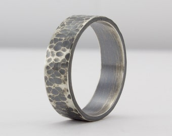 Hammered Sterling Silver Ring, Oxidized Sterling, Textured Ring, Wedding Band, Simple Wedding Ring, Rustic Men's Ring, Unique Wedding Band
