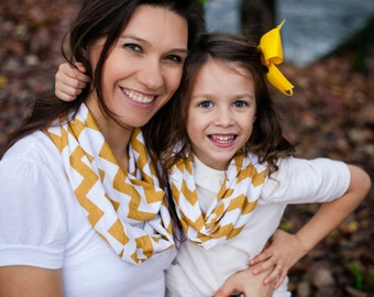 Mommy & Me Mustard and White Chevron Infinity Scarf Scarves Jersey Knit Soft