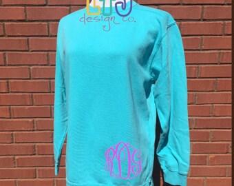 SALE SALE SALE ~ Monogrammed Comfort Colors Sweatshirt ~ Monogrammed Pullover