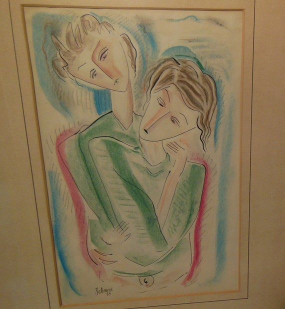 1960's Abstract Picasso Style Pastel Painting of Two Girls Woman Artist Signed Salomone