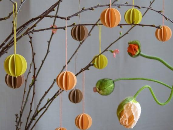 6 balls of paper FRÜHLING6 paper pendant