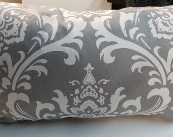 Premier Prints Ozborne Storm Grey Damask Print Indoor Pillow Cover with Hidden Zipper