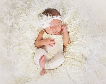 Lace Newborn Romper photo prop with matching headband