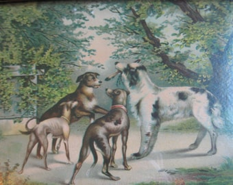 Dog Painting Print Vintage Dog Collectible Framed Dog Picture Wall Art Edwardian Dog Lithograph Print Antique Wooden Frame Dog Art