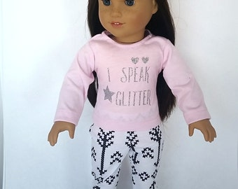 18 inch doll clothing, American made Girl doll clothes, pink shirt and white leggings, trendy 18 doll clothes, Glitter top,