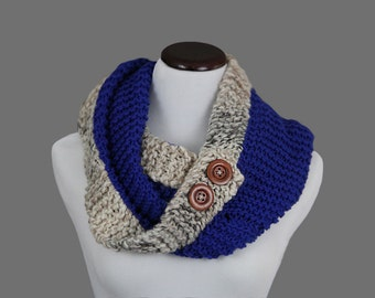 Two-Tone Light Gray/Blue Infinity Scarf