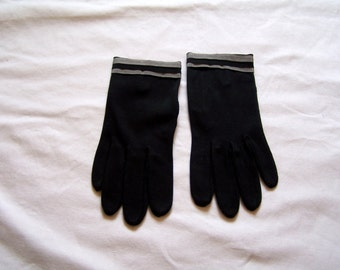 Black vintage gloves with gray strips, size 6-1/2
