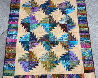 QUILT, Aunt Betty, Batik, Patchwork, handmade