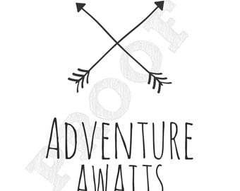 Adventure Awaits Printable Portrait 8x10 Woodland Tribal Wall Art