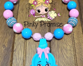 "Shopkins ""CURLY"" Toddler/Child Handmade Chunky Rhinestone Necklace"