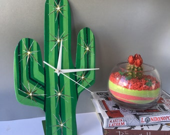 Cactus Clock Hand Made and Hand Painted