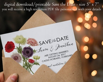 Printable save the date, botanical Save the Date, custom save the date, floral save the date, digital save the date, instant download, 7 x 5