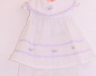 Vintage baby dress.Purple and white, Little Lindsey dress for 6-9 Mo WITH bloomers & headband