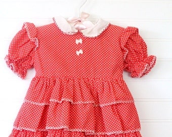 Vintage baby dress red with polka-dots and frilly layers, Dandy Girl size 18 mo