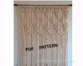 PDF Instructions  Macrame Curtain. HANDMADE.Macrame wall hanging. (cotton 8mm) PDF pattern with instant download .