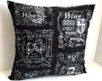 """18"""" x 18"""" Vineyard Collection Chalkboard Wine Envelope Style Pillow Cover"""
