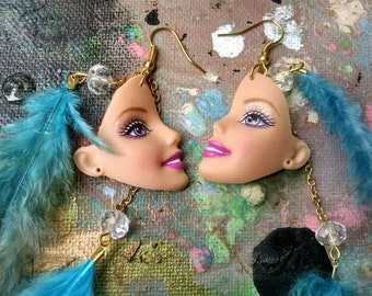 Barbie turquoise feather dangle earrings